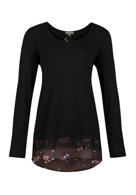 Ladies' Floral Top, BLACK, hi-res