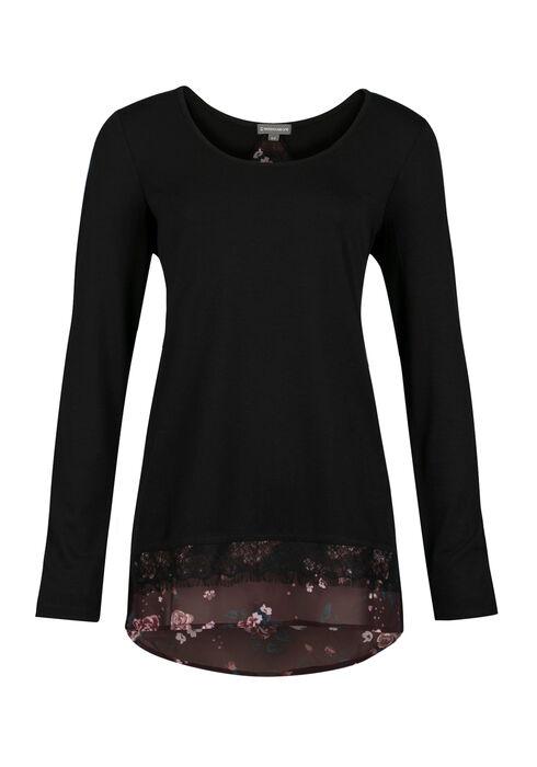 Ladies' Floral Top, BLACK, hi-res
