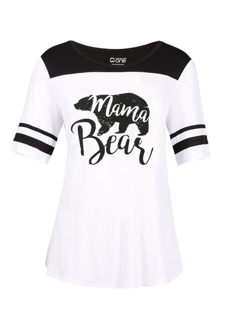Ladies' Mama Bear Football Tee, WHITE, hi-res