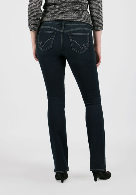 Ladies' Baby Boot Jeans, DARK WASH, hi-res