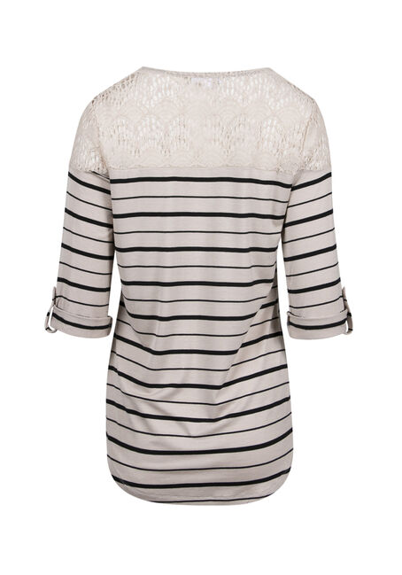 Ladies' Crochet Stripe Top, IVORY/BLK, hi-res