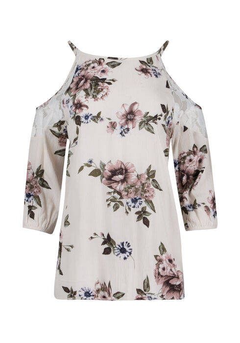 Ladies' Floral Cold Shoulder Top, IVORY, hi-res