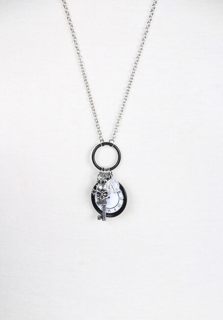 Ladies' Clock Charm Necklace, BLACK, hi-res