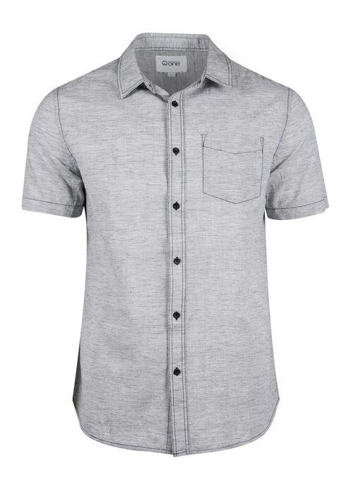 Men's Textured Linen Shirt, CHARCOAL, hi-res