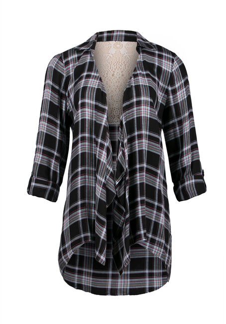 Ladies' Plaid Wrap, BLACK, hi-res