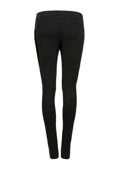 Ladies' Faux Suede Legging, BLACK, hi-res