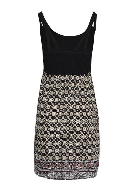 Ladies' Geo Print Dress, BLK/IVORY, hi-res