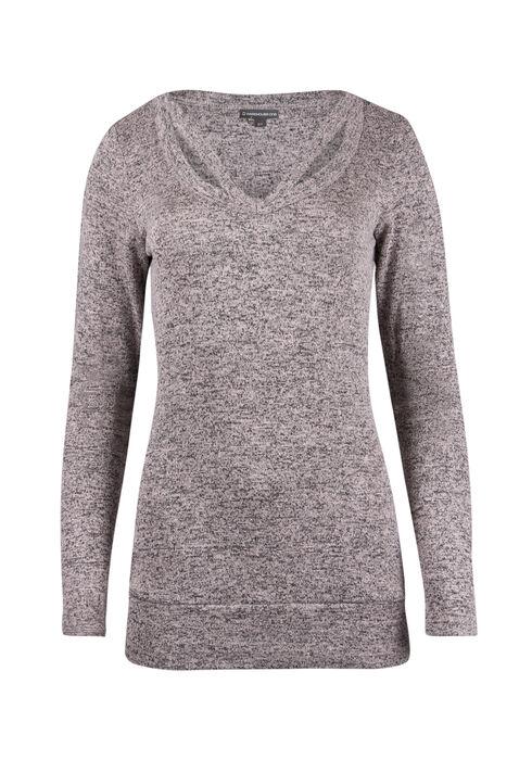 Ladies' Split Neck Tunic Top, PEACH, hi-res