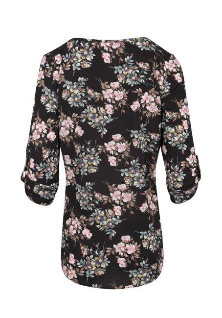 Ladies' Floral Cage Neck Top, BLACK, hi-res
