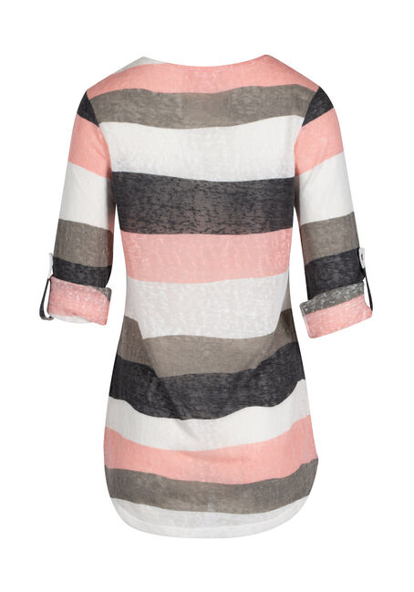 Ladies' Stripe Tunic tee, ROSEWATER/IVORY, hi-res