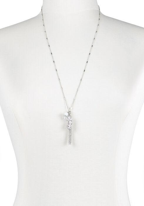 Ladies' Tassel Charm Cluster Necklace, RHODIUM, hi-res