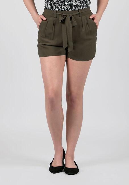 Ladies' Tie Front Soft Short, MOSS, hi-res