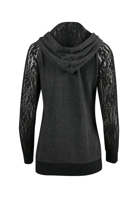 Ladies' Lace Sleeve Hoodie, BLACK, hi-res