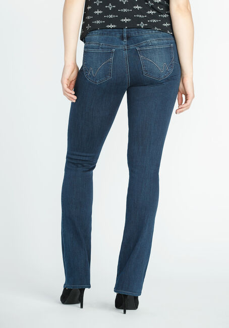 Ladies' Baby Boot Jeans, DARK VINTAGE WASH, hi-res