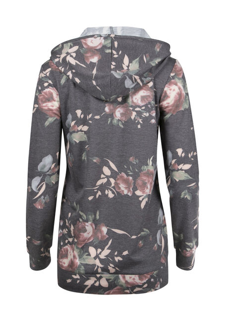 Ladies' Floral Hoodie, CHARCOAL, hi-res
