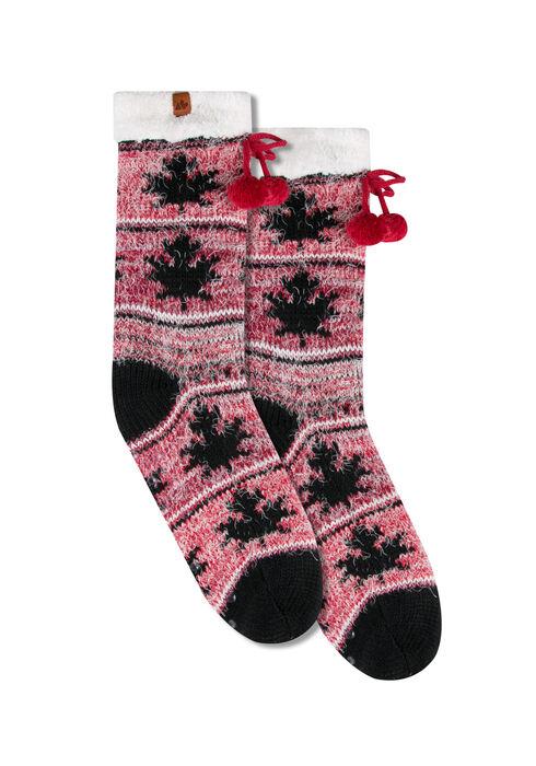 Ladies' Canada Slipper Socks, BLACK, hi-res