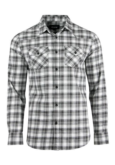 Men's Plaid Shirt, BLK/WHT, hi-res