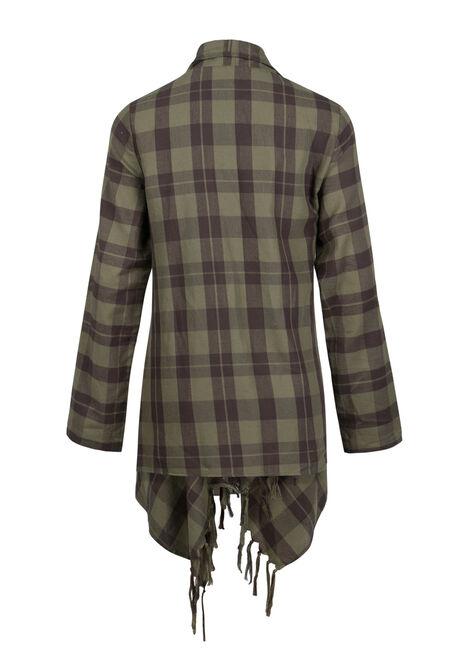 Ladies' Fringe Flannel Wrap, MILITARY, hi-res