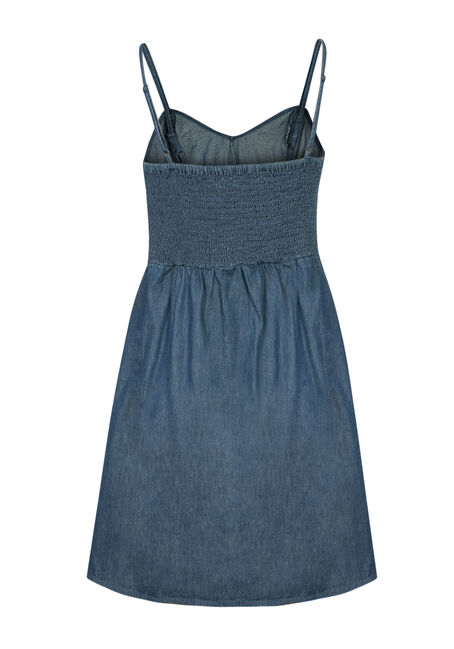 Ladies' Chambray Fit & Flare Dress, MEDIUM VINTAGE WASH, hi-res