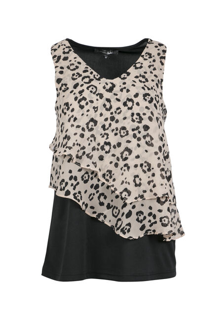 Ladies' Leopard Print Tank, TAN, hi-res