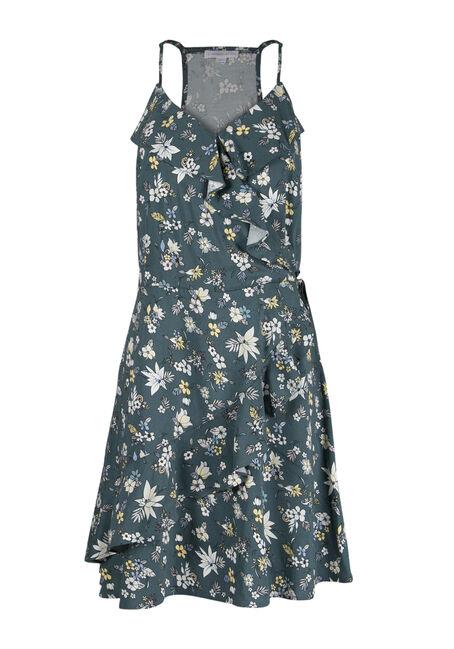 Ladies' Floral Ruffle Wrap Dress