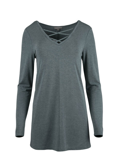 Ladies' Cage Neck Tunic Tee, BLUE IVY, hi-res