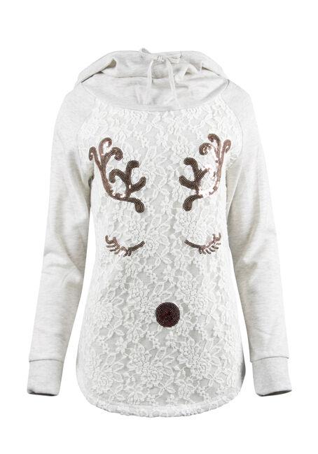 Ladies' Sequin Reindeer Hoodie