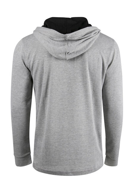 Men's Henley Popover Hoodie, HEATHER GREY, hi-res