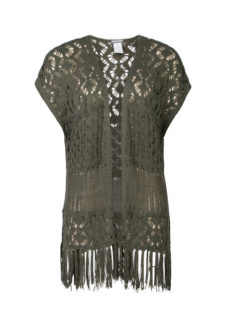 Ladies' Pointelle Fringe Wrap, OLIVE, hi-res