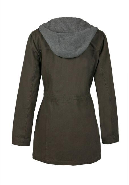 Ladies' Hooded Anorak Jacket, OLIVE, hi-res