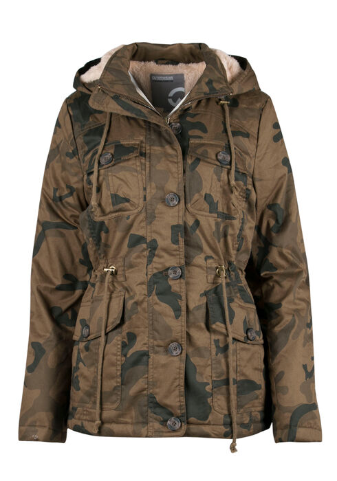 Ladies' Hooded Camo Anorak Jacket, OLIVE COMBO, hi-res