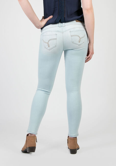 Ladies' Low Rise Skinny Jeans, BLEACH WASH, hi-res