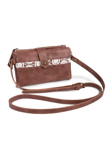 Ladies' Cross Body Wallet Bag, BROWN, hi-res