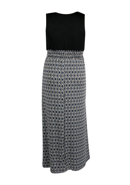 Ladies' Plus Size Mosaic Maxi Dress, NAVY BLACK, hi-res