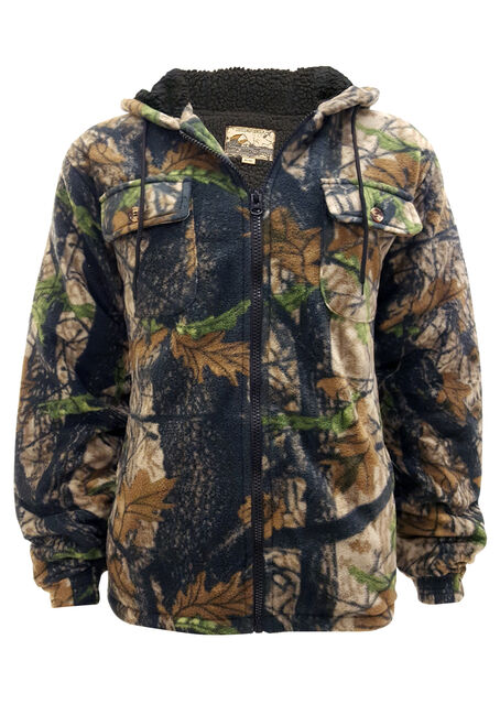 Men's Fleece Camo Jacket, DARK OLIVE, hi-res