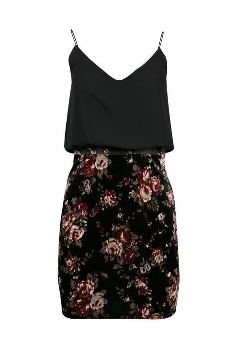 Ladies' Strappy Blouson Dress, BLACK, hi-res