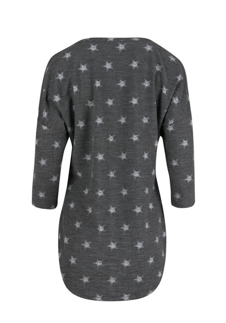 Ladies' Star Cold Shoulder Top, CHARCOAL, hi-res