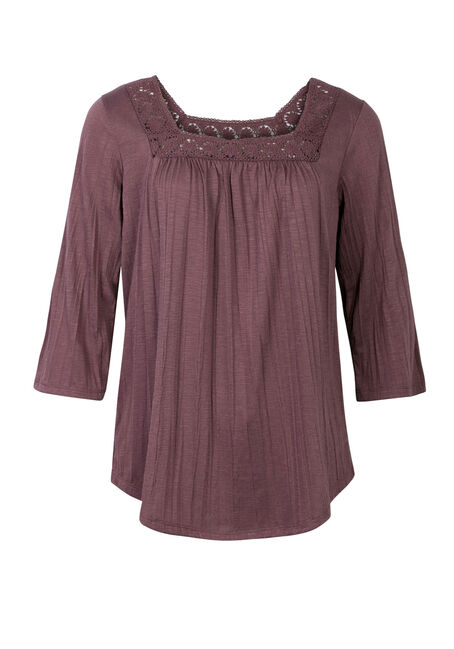 Ladies' Lace Yoke Top, WILD ORCHID, hi-res