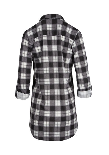 Ladies' Knit Plaid Tunic Shirt, NAVY, hi-res