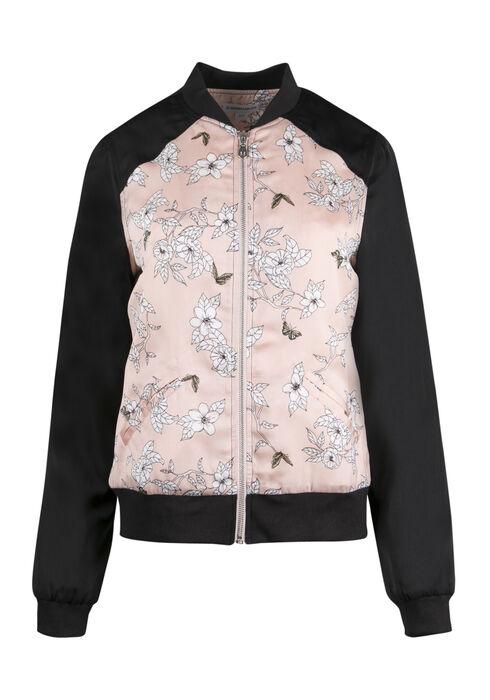 Ladies' Floral Bomber Jacket, MULTI, hi-res