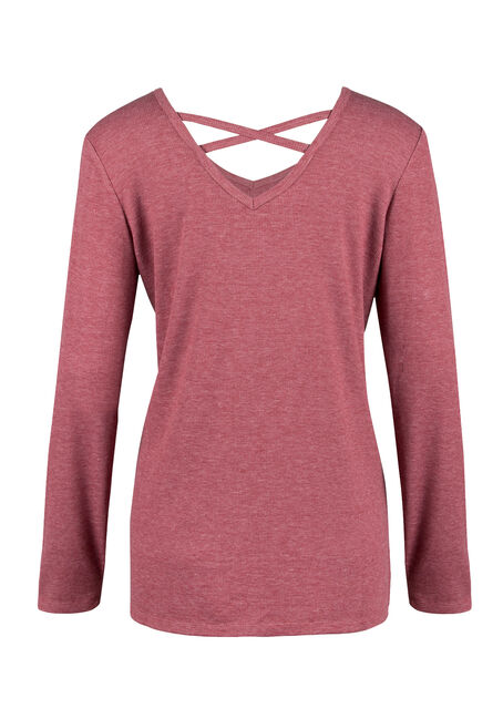 Ladies' Cross Back Tee, BURNT RED, hi-res