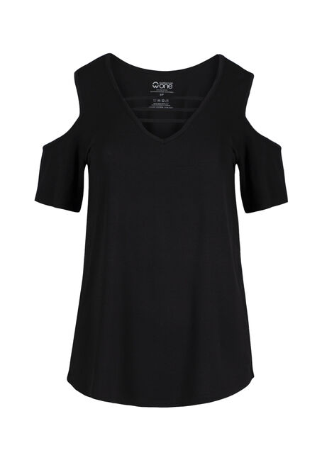 Ladies' Cage Neck Cold Shoulder Tee