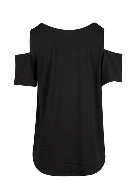 Ladies' Mama Bear Cold Shoulder Top, BLACK, hi-res