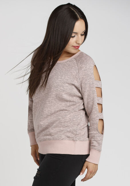 Ladies' Ladder Sleeve Fleece, DUSTY ROSE, hi-res