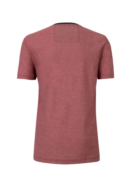 Men's Mini Stripe V-Neck Tee, DARK RED, hi-res