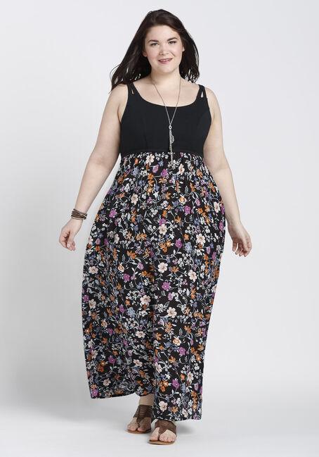 Ladies' Floral Maxi Dress, BLACK, hi-res