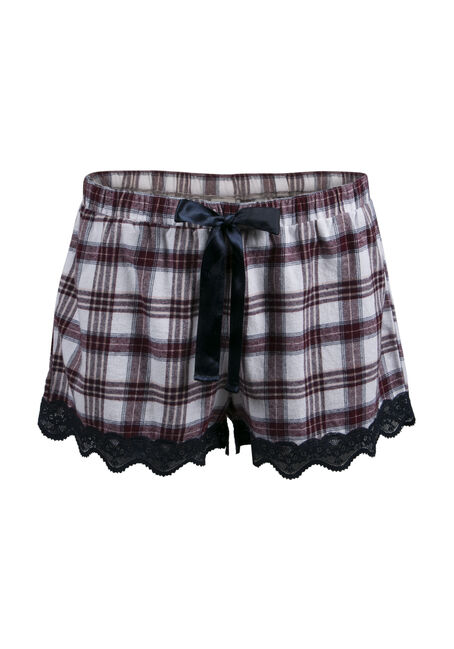 Ladies' Plaid Lounge Short, BURGUNDY, hi-res