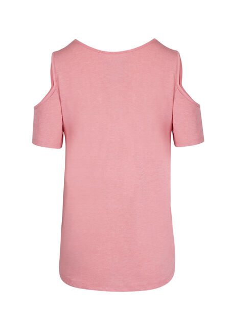 Ladies' Cage Neck Cold Shoulder Tee, SD ROSE, hi-res