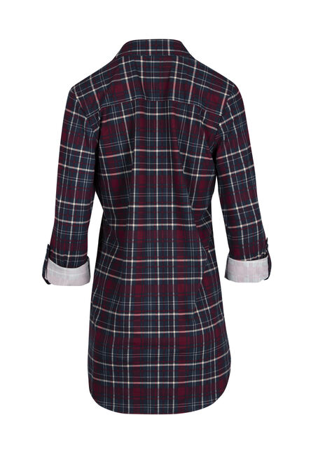 Ladies' Knit Plaid Tunic Shirt, BURGUNDY, hi-res