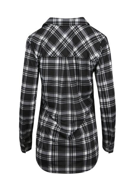 Ladies' Lace Up Knit Plaid Shirt, BLK/WHT, hi-res